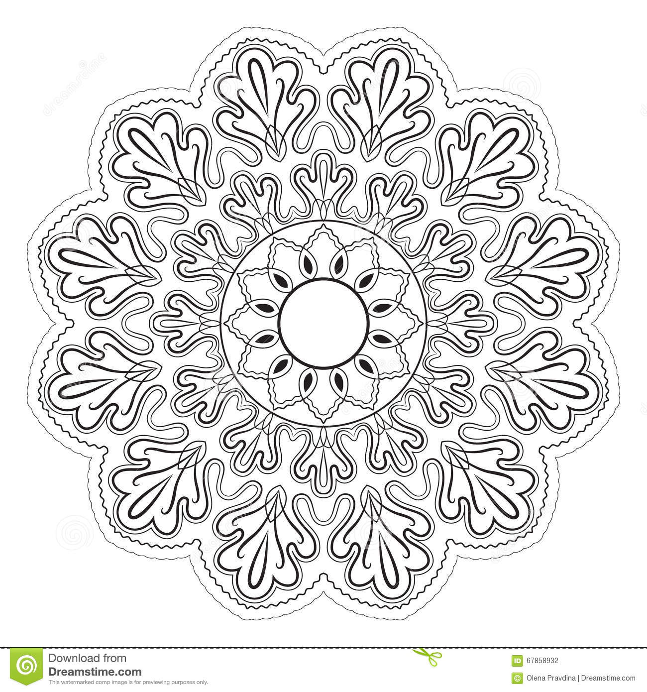 Black And White Abstract Pattern Mandala Stock Photo