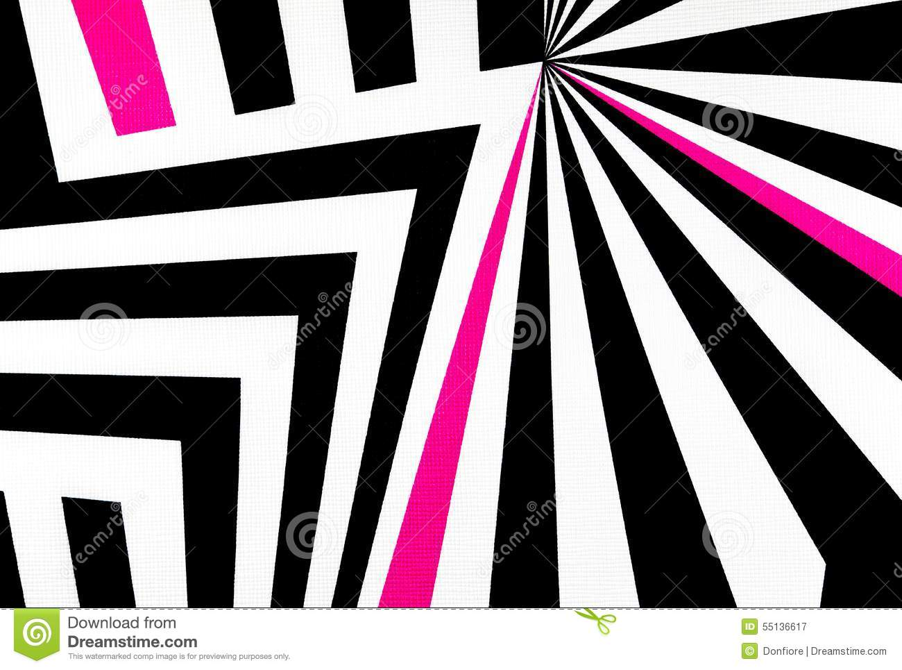 Black and white abstract regular geometric fabric texture background with pink line