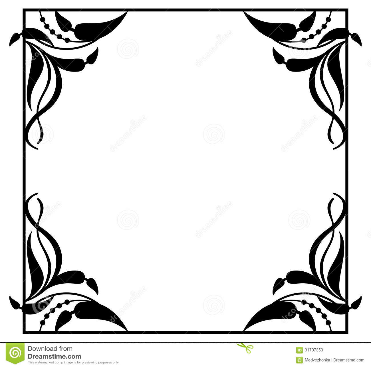 Black And White Abstract Square Frame With Flowers Silhouettes ...