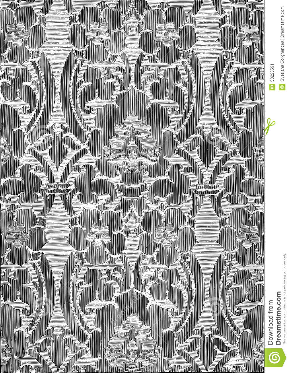 ea5d091eb90 Black And White Abstract Striped Floral Pattern Vintage Background ...