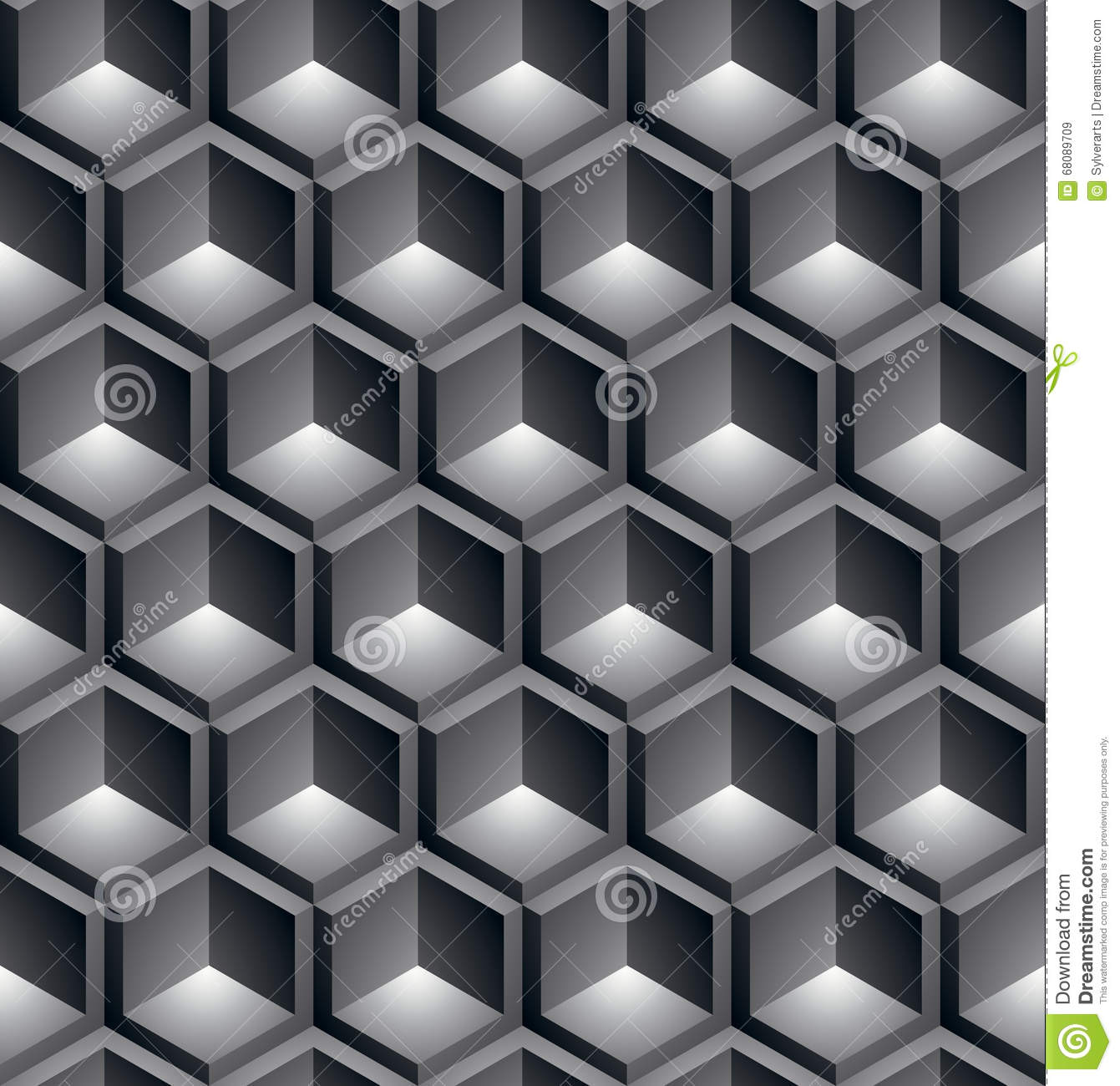 Black and white abstract textured geometric seamless for 3 dimensional cube template