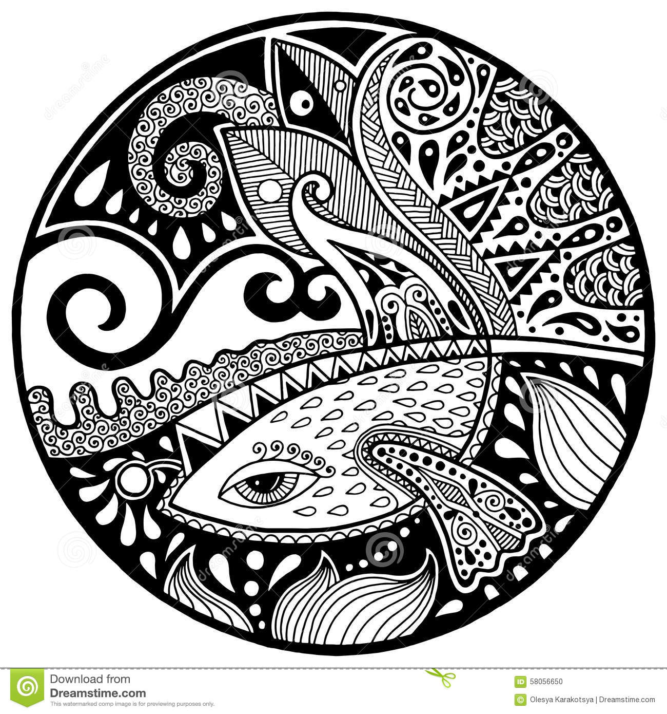 Black White Abstract Zendala With Fish And Waves Stock