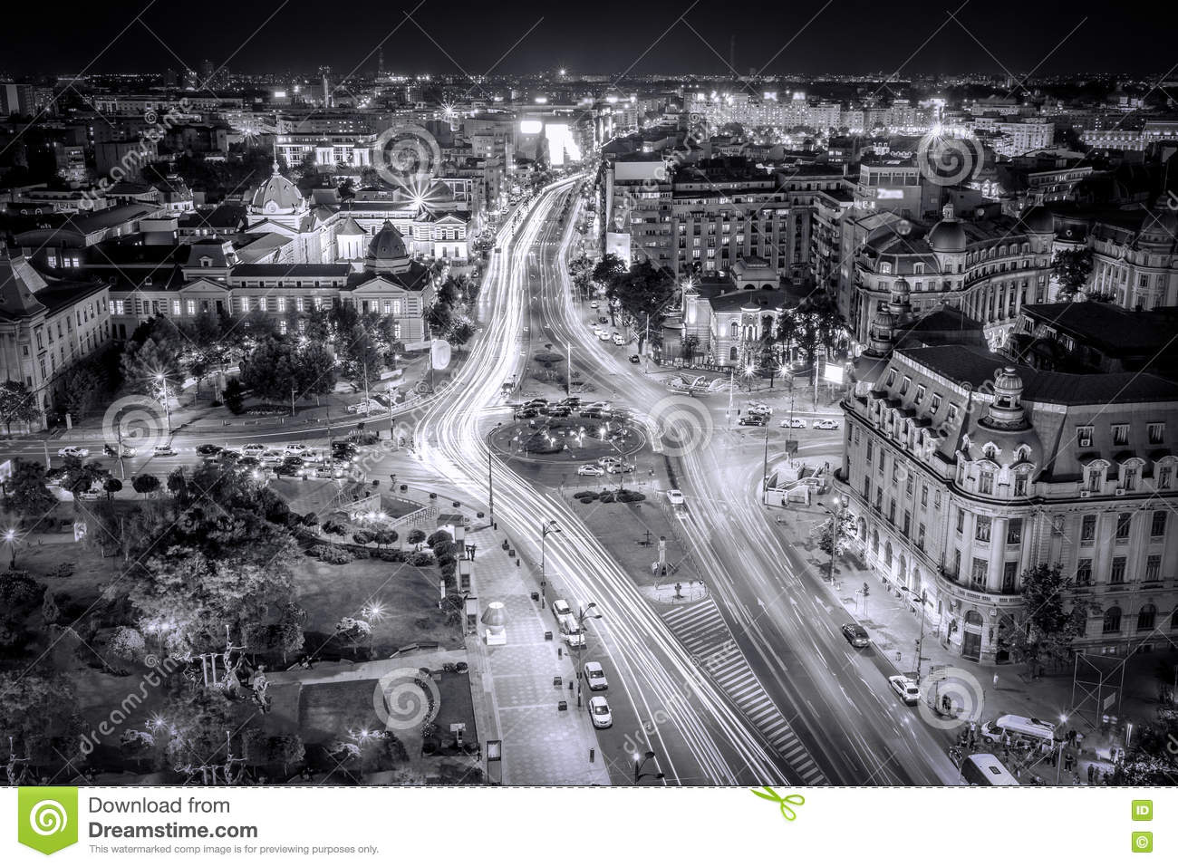 Black and white aerial photo view of the center of capital city
