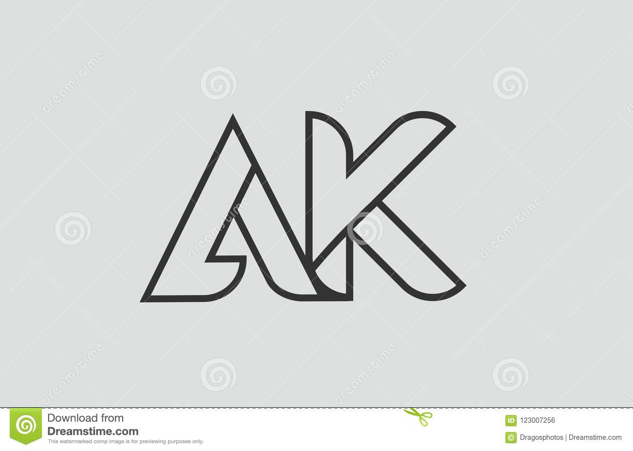 Black And White Alphabet Letter Ak A K Logo Combination Stock Vector