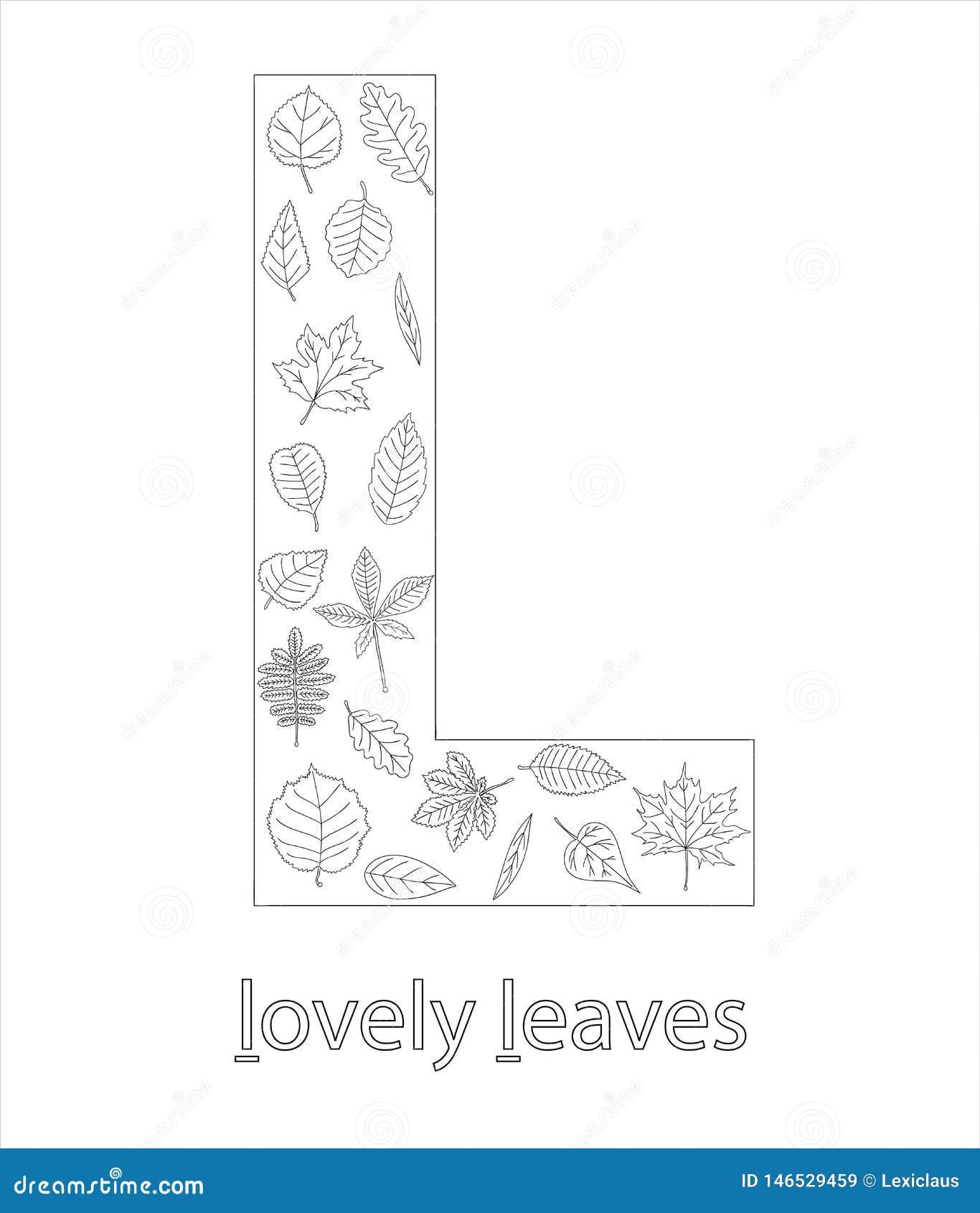 Black and white alphabet letter L. ABC flashcard