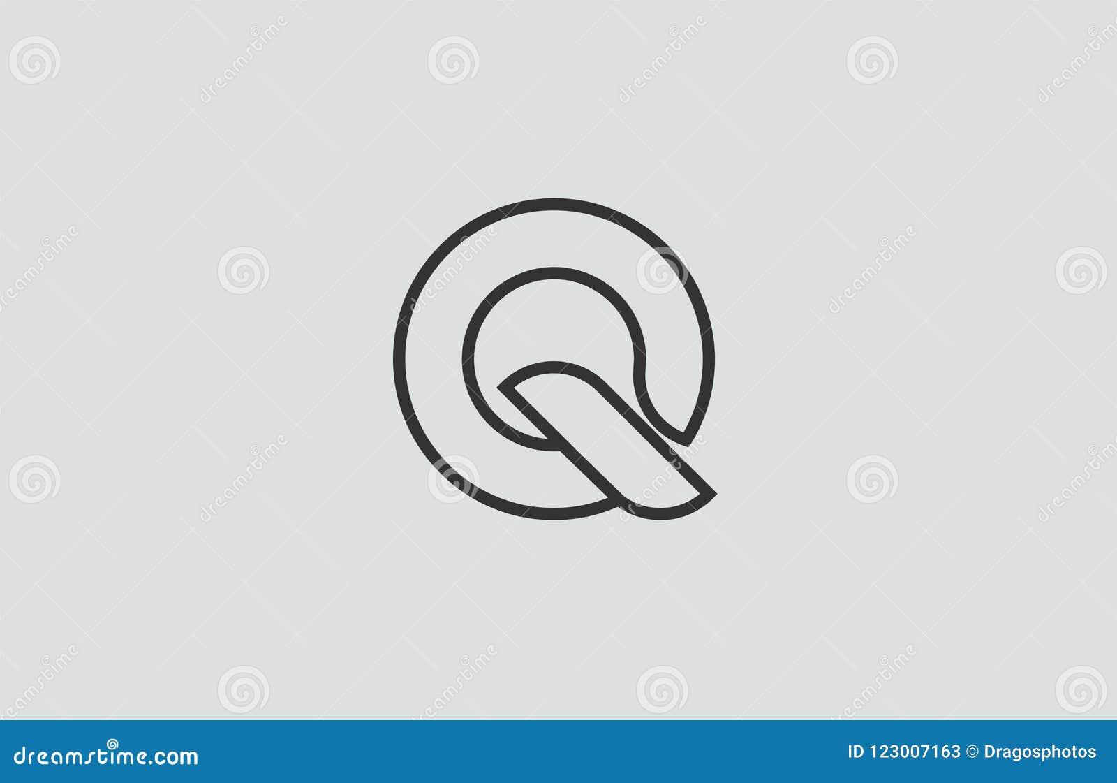 Black And White Alphabet Letter Q Logo Icon Design Stock Vector