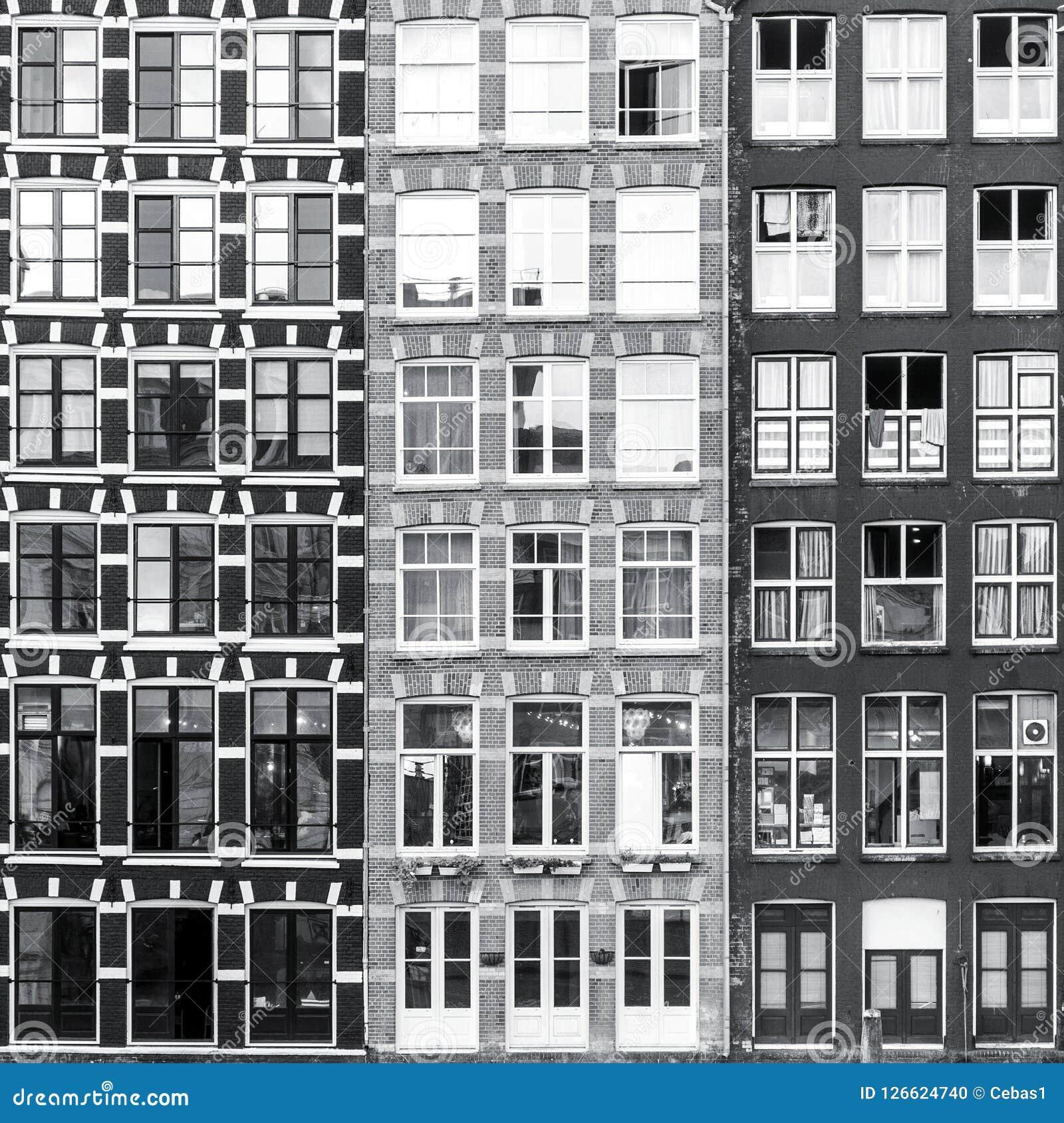 Black and white Amsterdam windows background