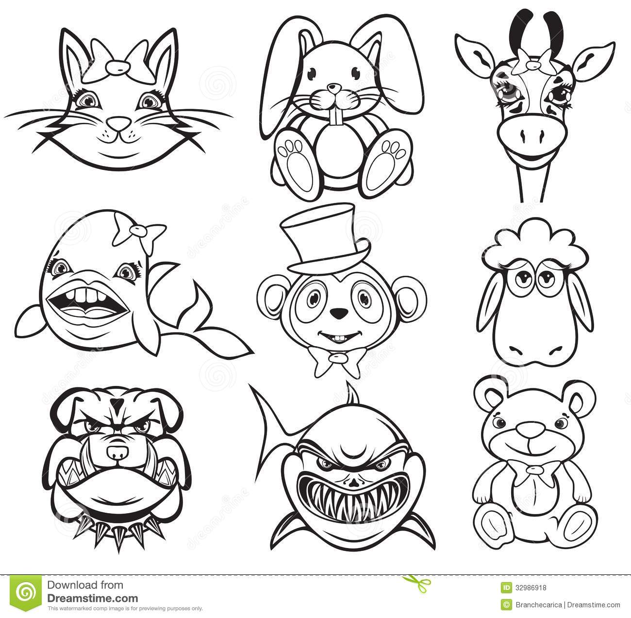 Black And White Animal Collection Stock Vector