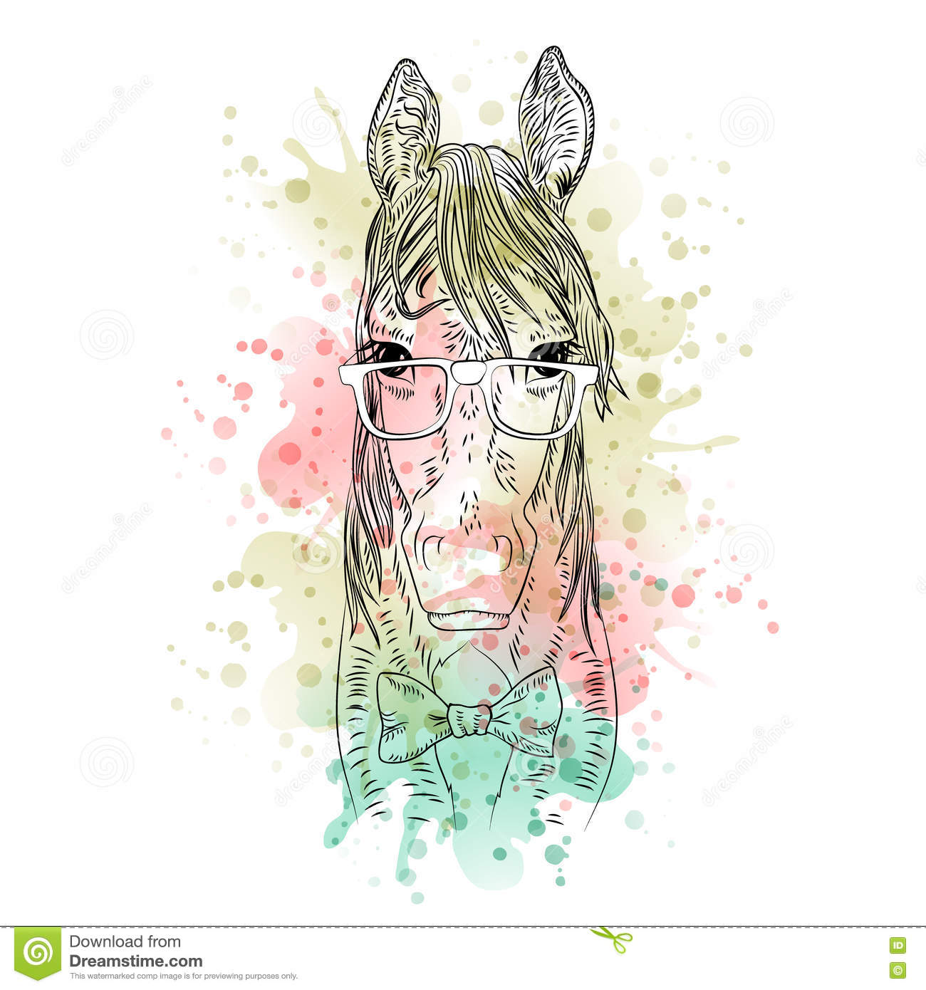 Black And White Animal Horse Head Watercolor Abstract Art