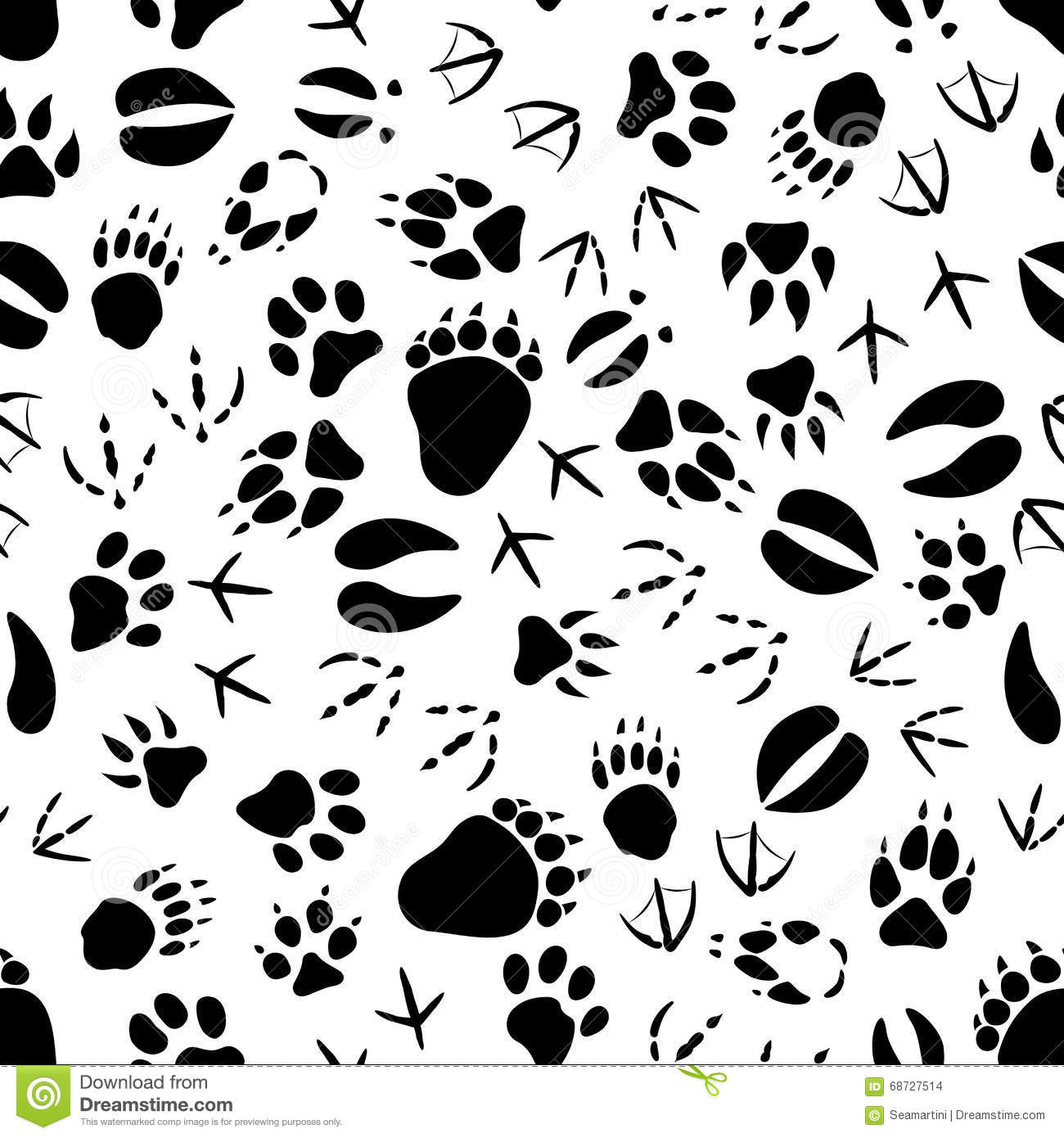 Black And White Animal Tracks Pattern Stock Vector ...