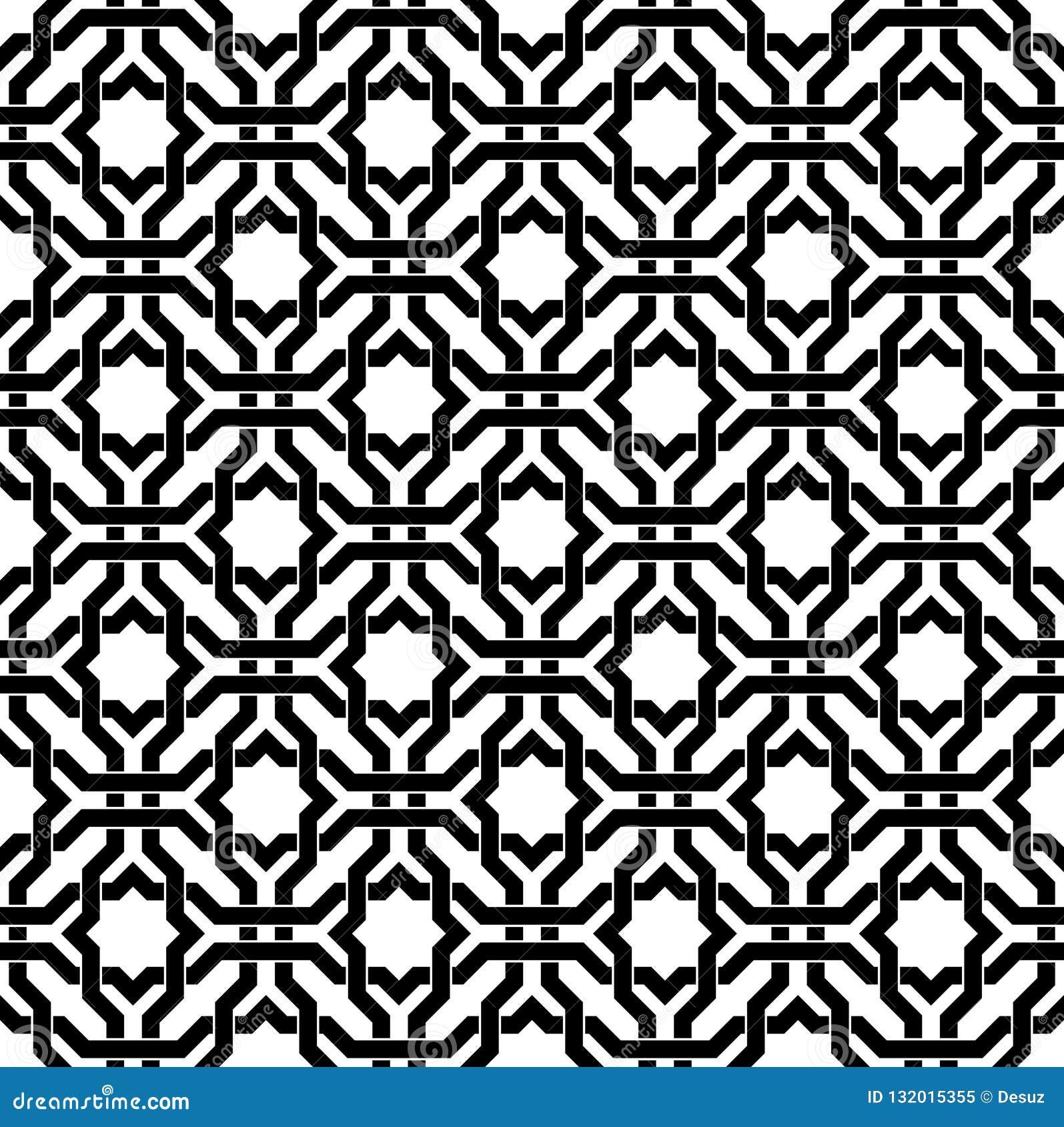 Black And White Arabic Geometric Seamless Pattern, Vector