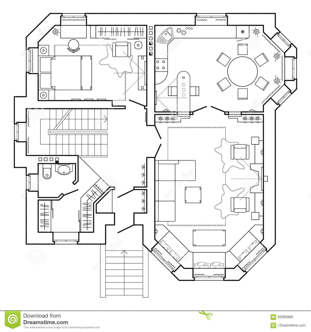Black and white architectural plan of a house layout of for Plan maison 200m2