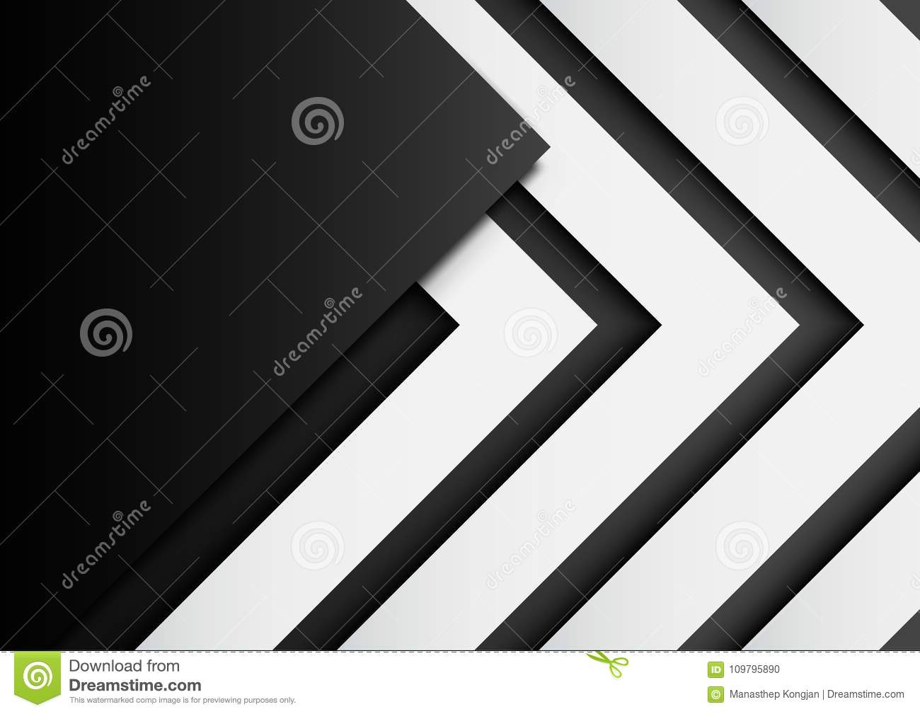 03.Black and white arrows on black background with paper art sty