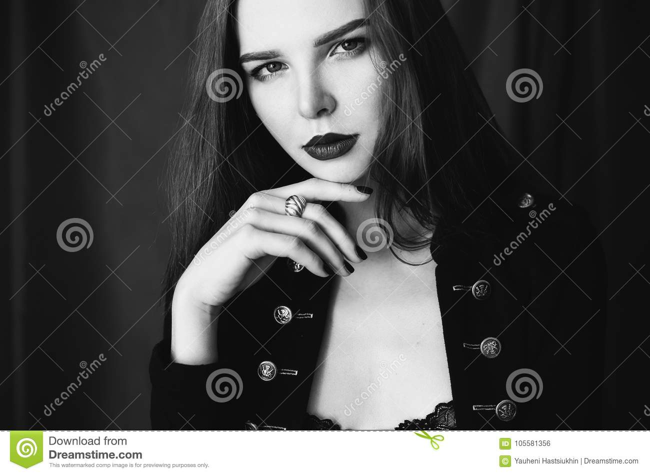Artistic black and white photography unusual appearance stock photo