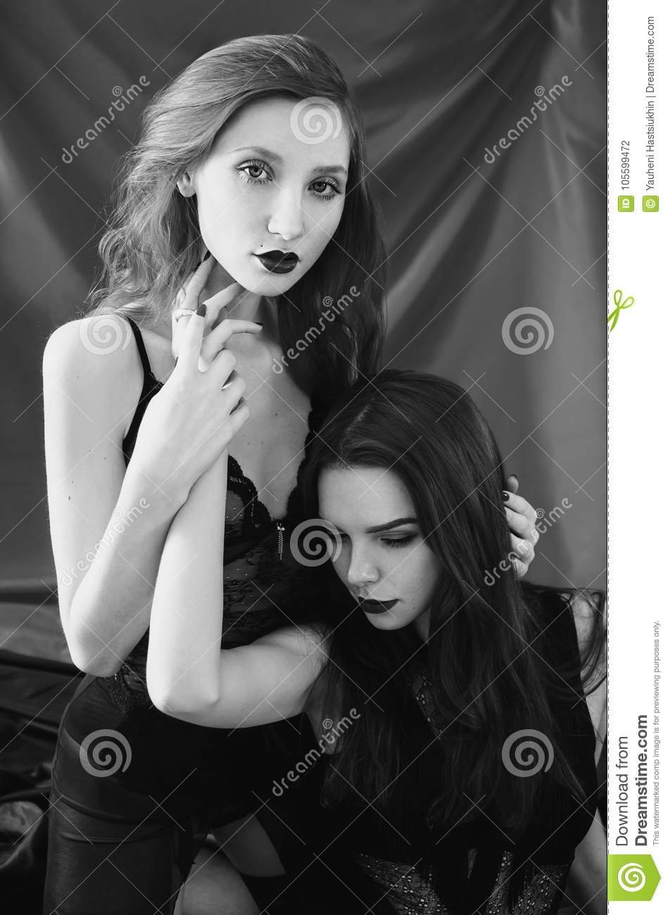 Artistic black and white photography two beautiful girls stock