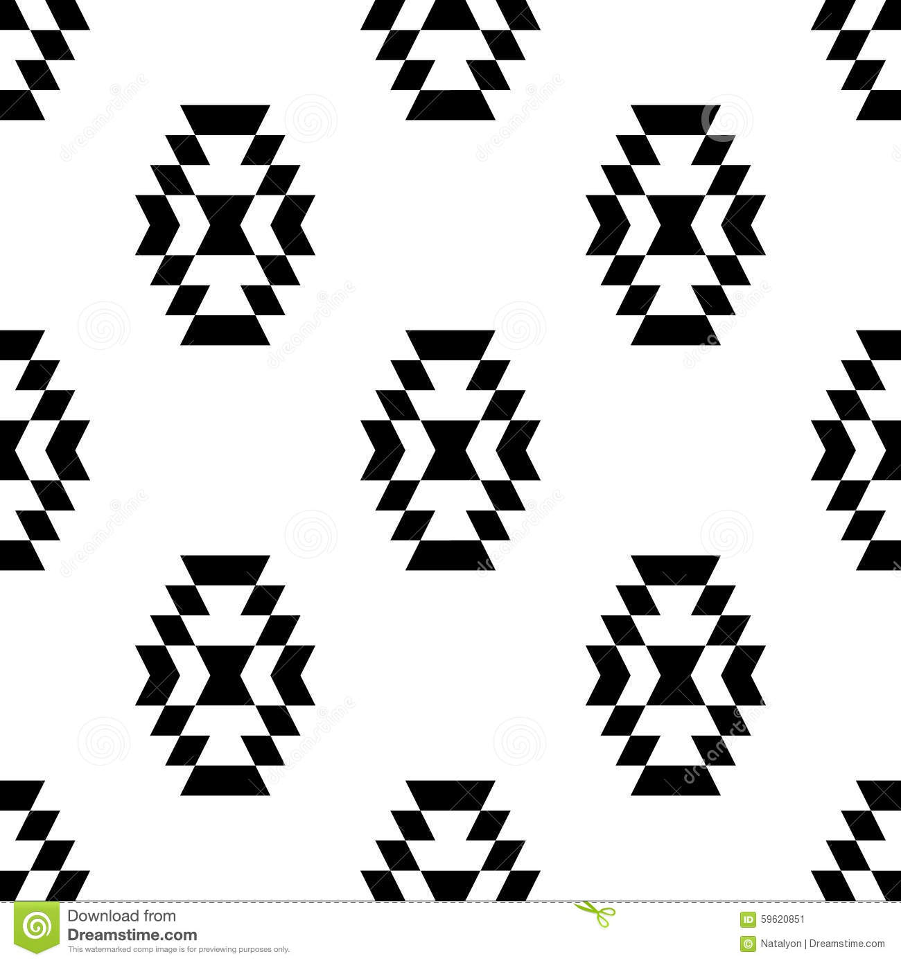 Black And White Aztec Ornament Geometric Ethnic Seamless ...