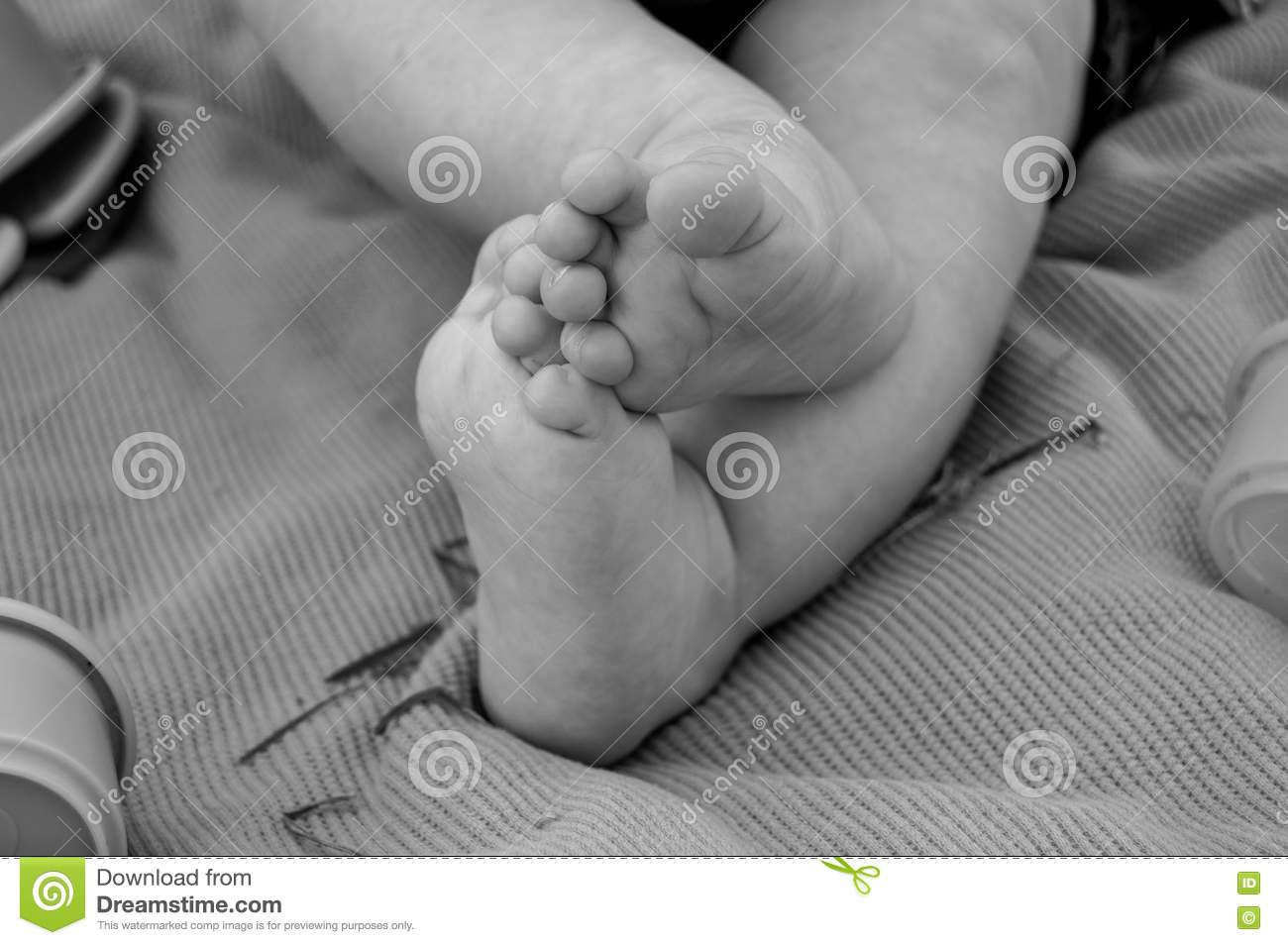 Black and white baby feet