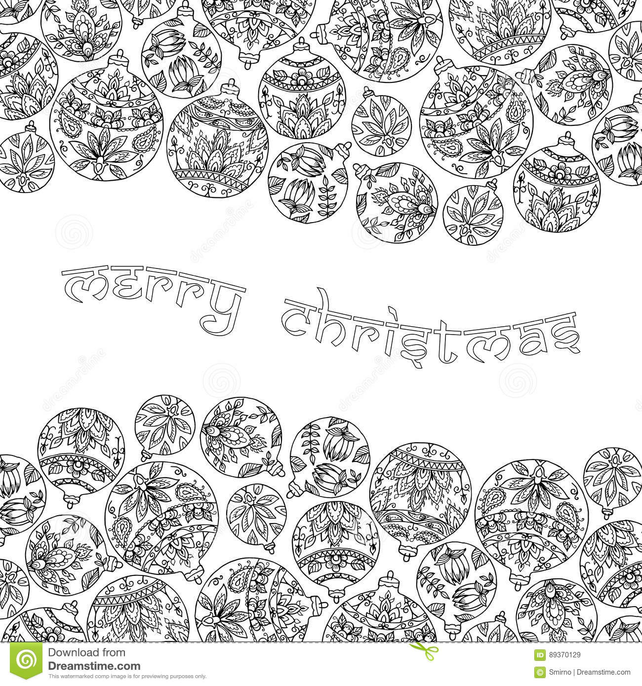 Black And White Background With Christmas Balls. Paisley Indian ...
