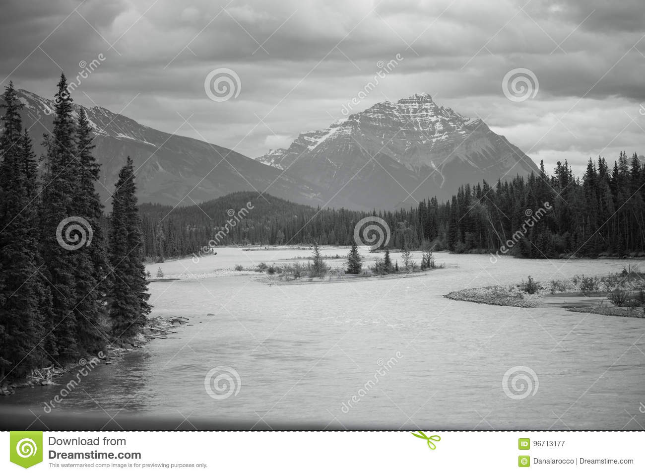 Black and white banff mountainscape with lake
