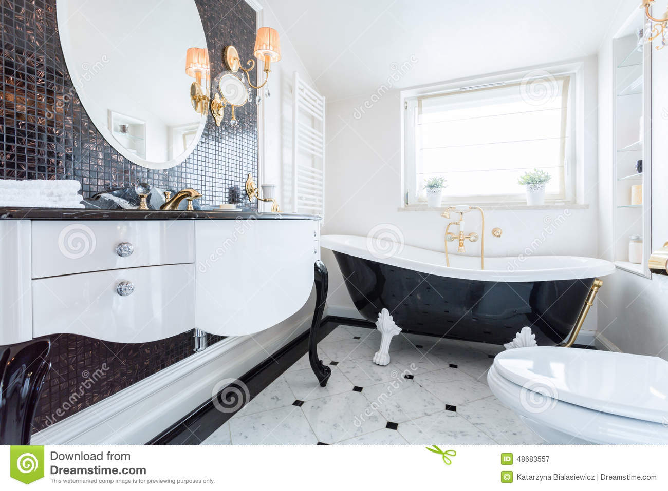 black and white baroque bathroom stock photo image 48683557. Black Bedroom Furniture Sets. Home Design Ideas