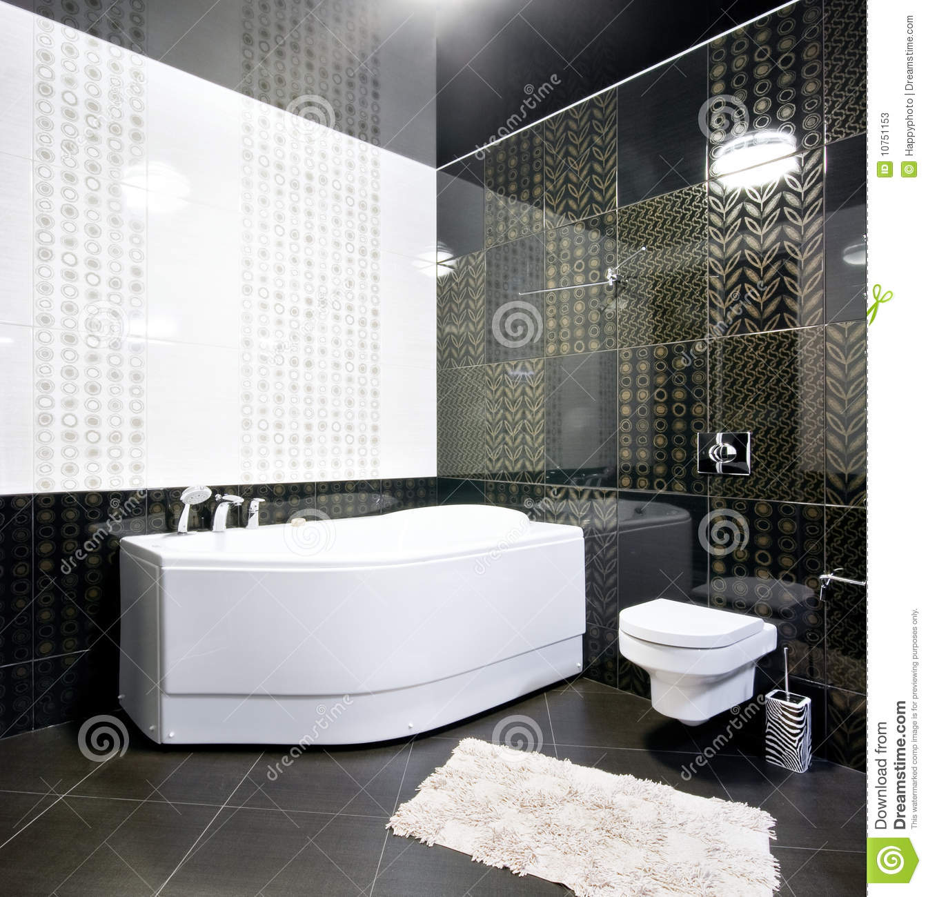 Black And White Bathroom Interior Stock Image