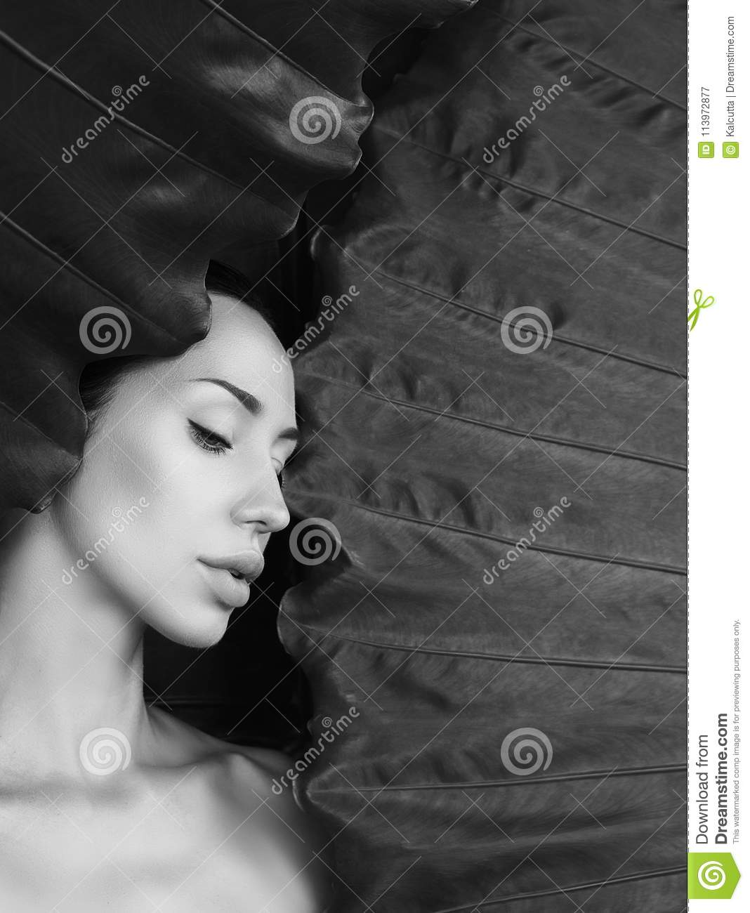 Black and white beautiful woman portrait woman face with n