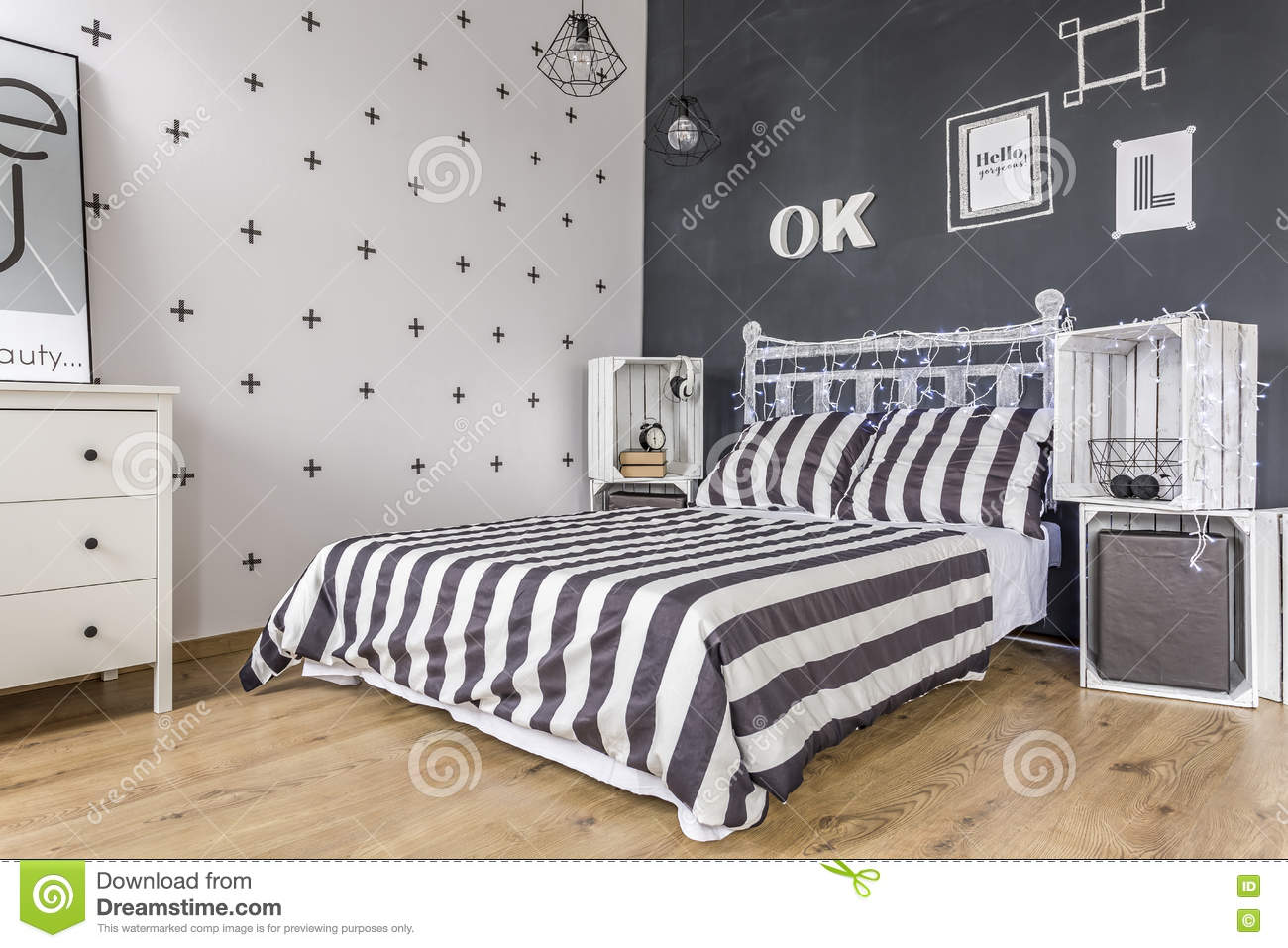 Black And White Bedroom Idea Stock Image Image Of Relax Room
