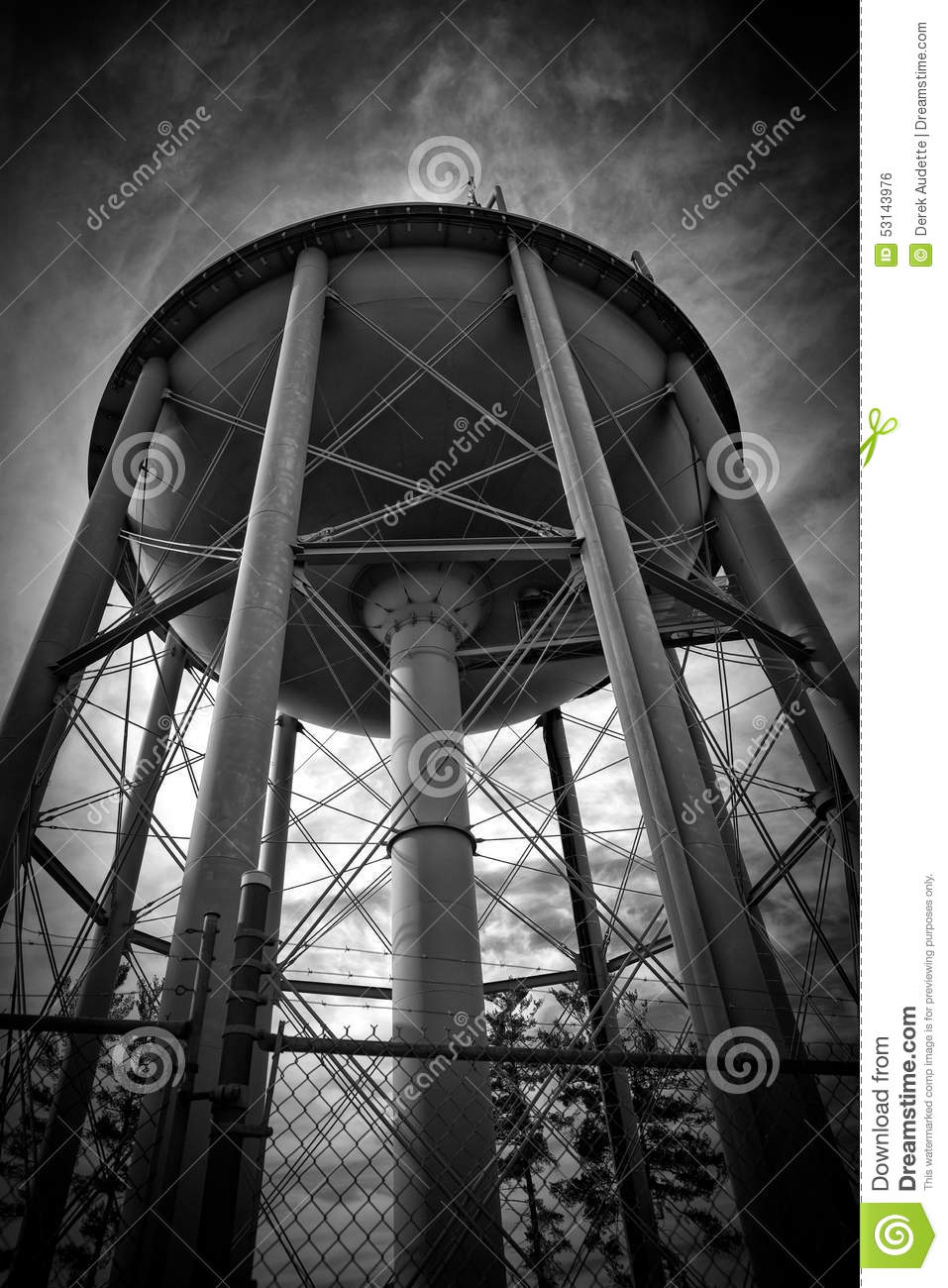 Black And White Big Water Tower Stock Photo Image 53143976