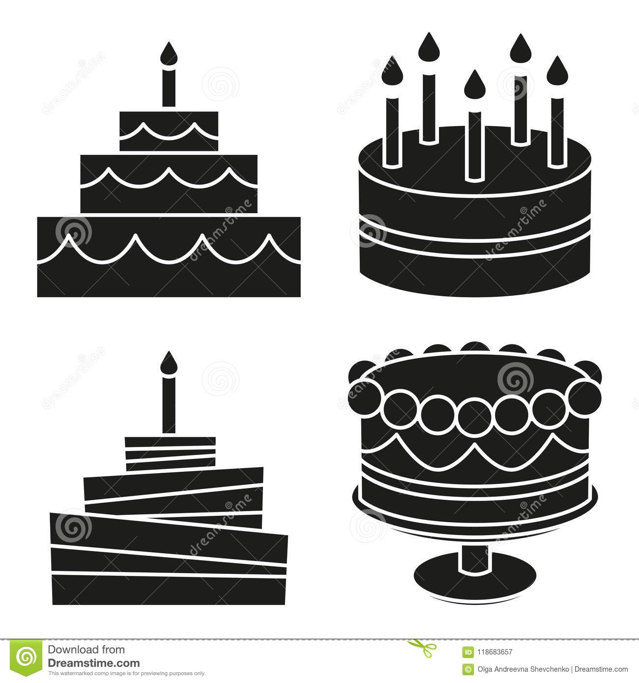 Miraculous Black And White Birthday Cake Silhouette Set Stock Vector Funny Birthday Cards Online Alyptdamsfinfo