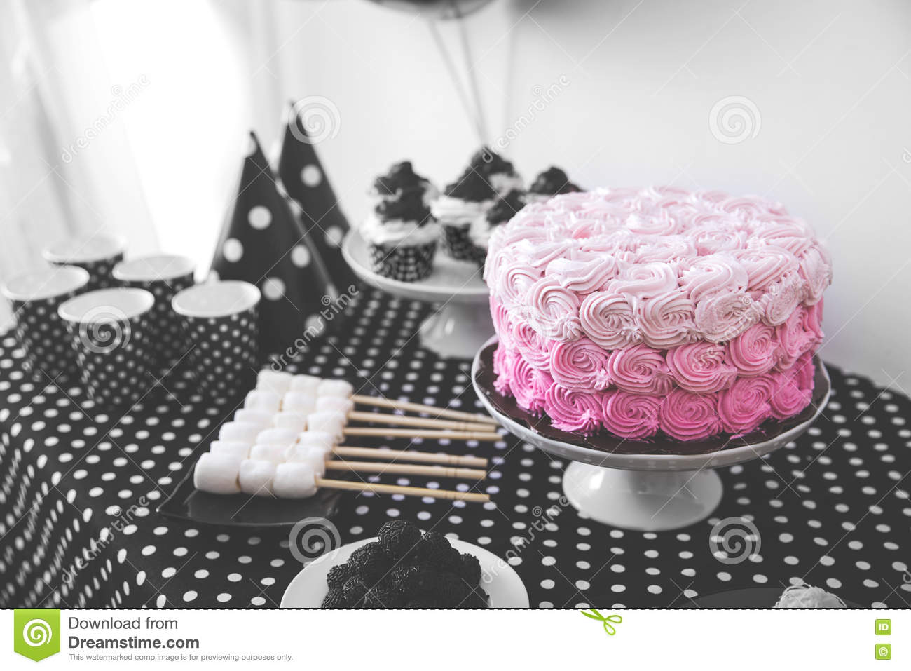 Black And White Birthday Party Decoration Stock Photo Image Of