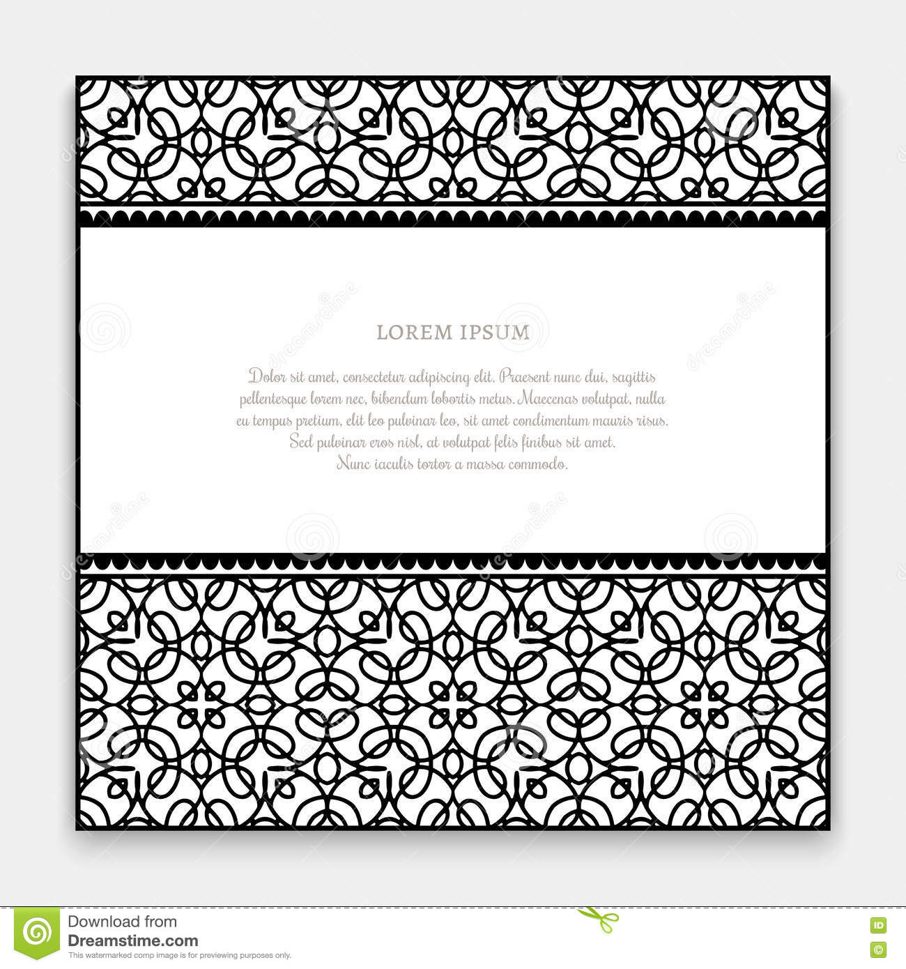 Black And White Border Card Stock Vector Illustration Of Greeting