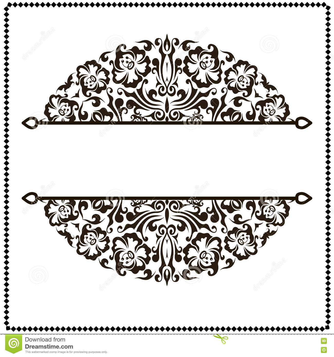 Black And White Border Frame With Floral Patterns Stock ...