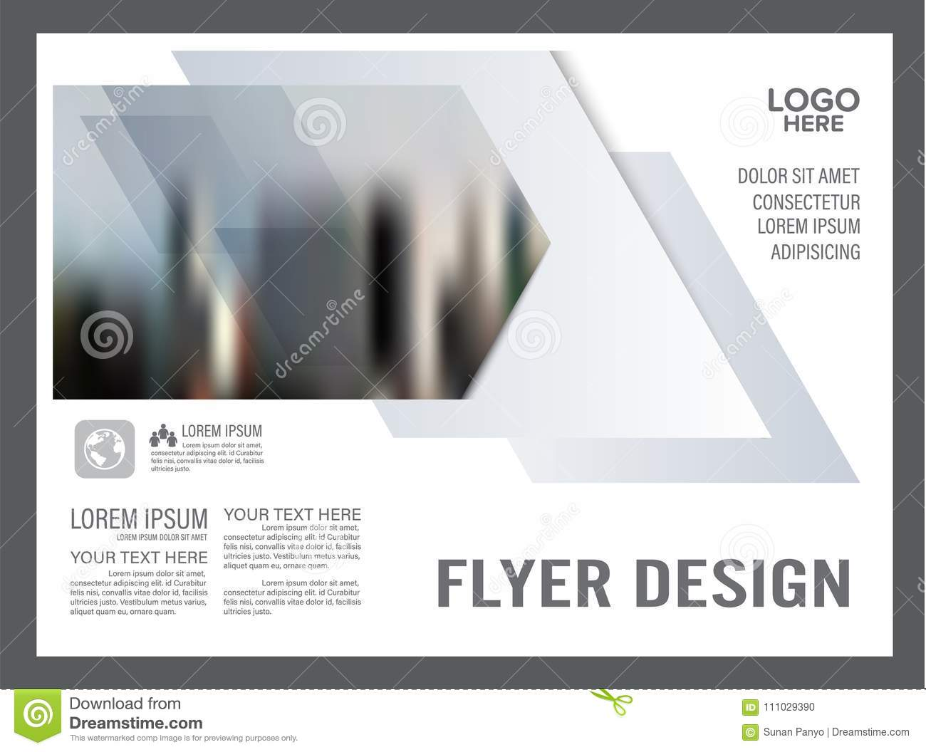 Black and white Brochure Layout design template. Annual