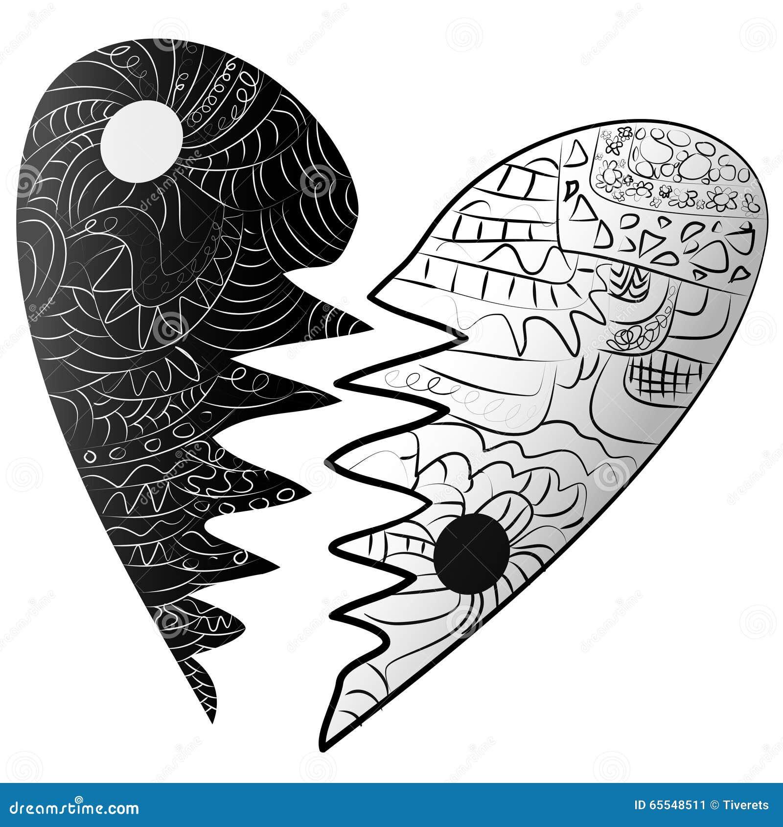 Black And White Broken Heart Drawn Zentangle Style Stock ...