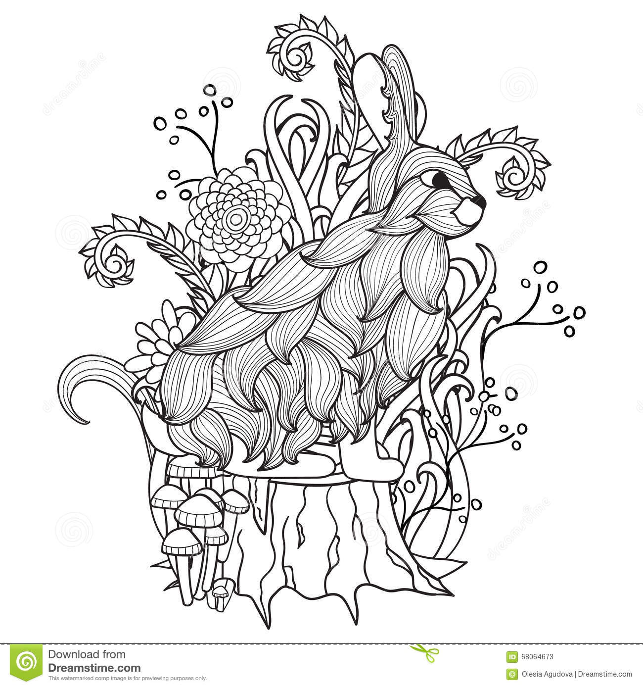Black And White Bunny Tree Stump Wood Flowers Trees