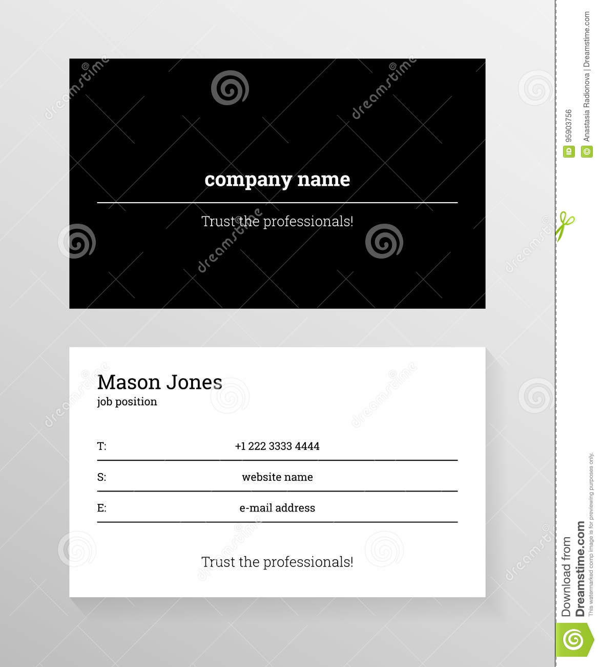 black and white business card template stock vector illustration