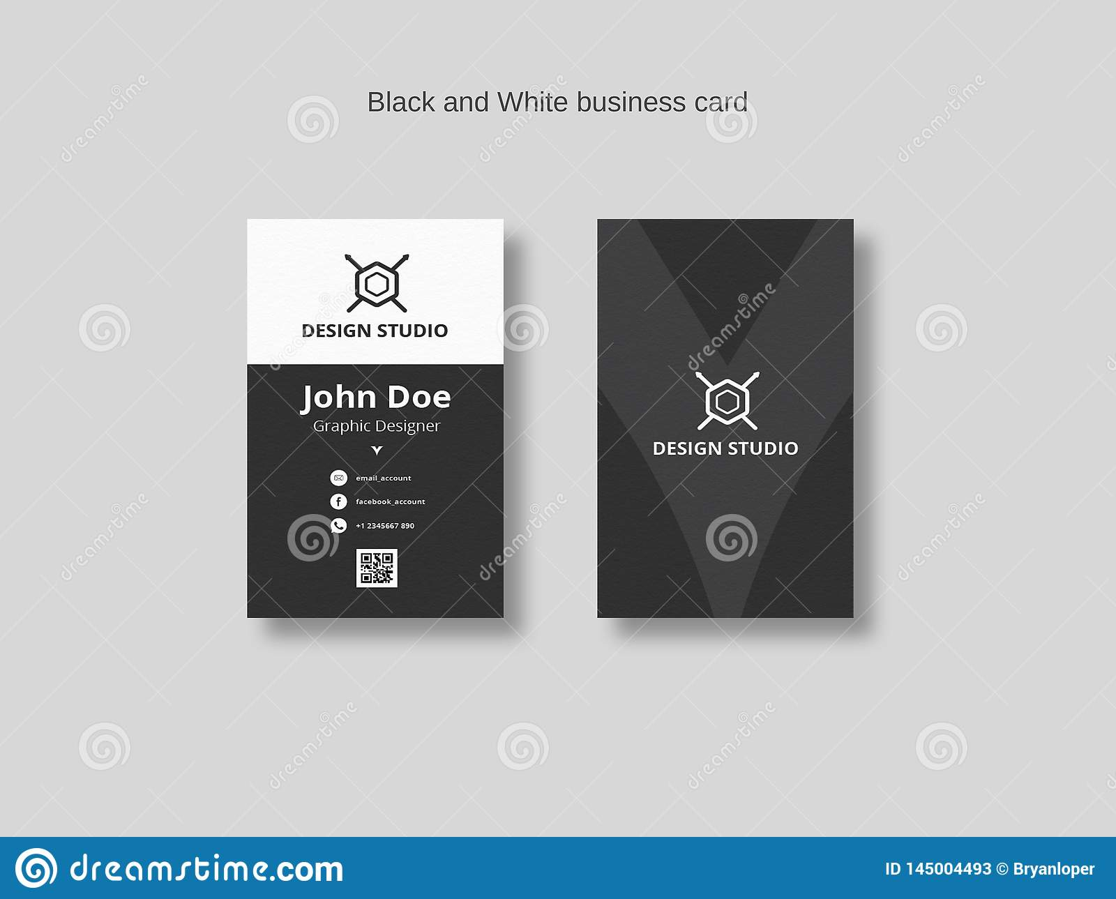 Black And White Business Card Template Stock Vector Illustration Of Business Creative 145004493