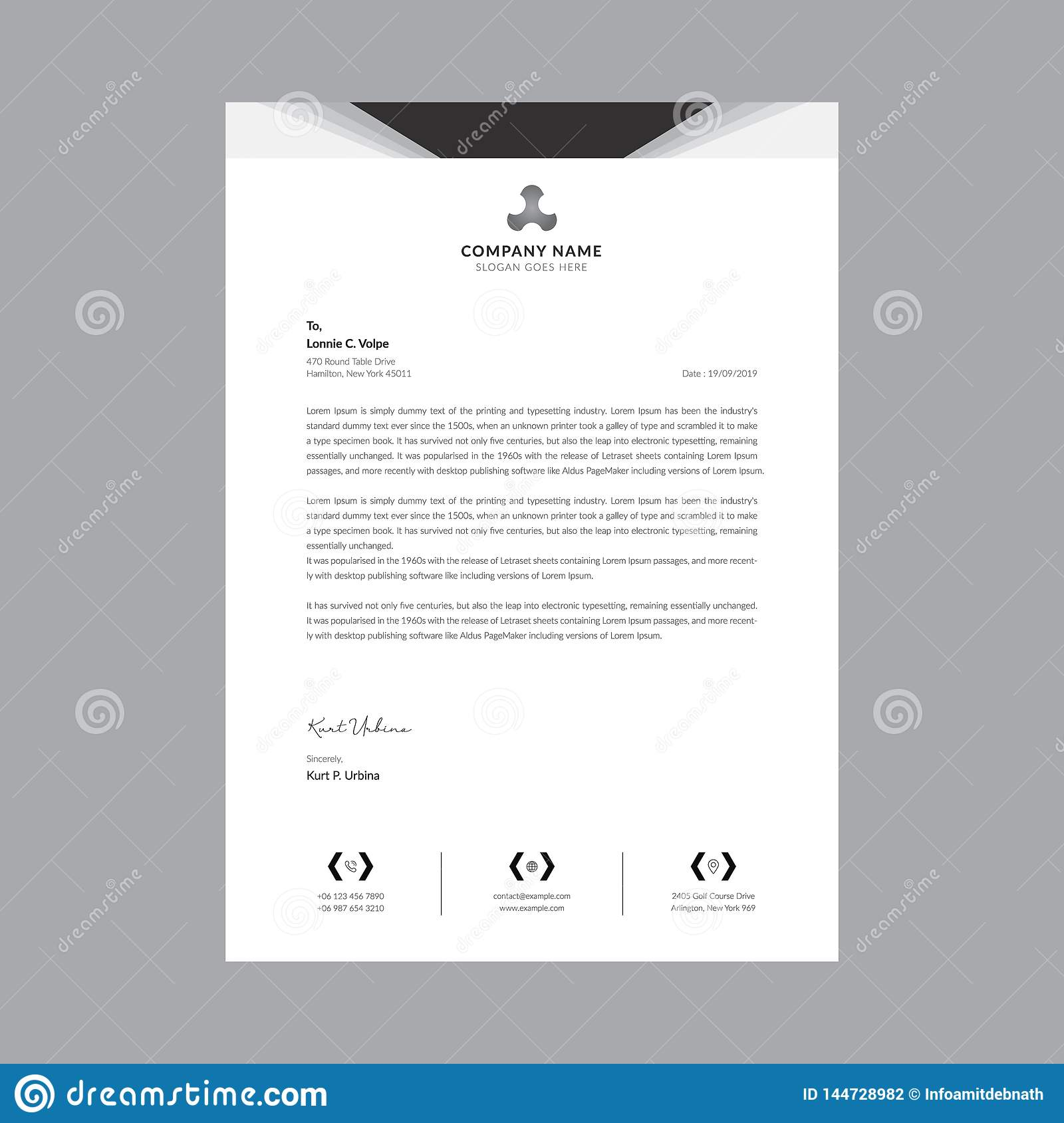 Black and white business letterhead templates