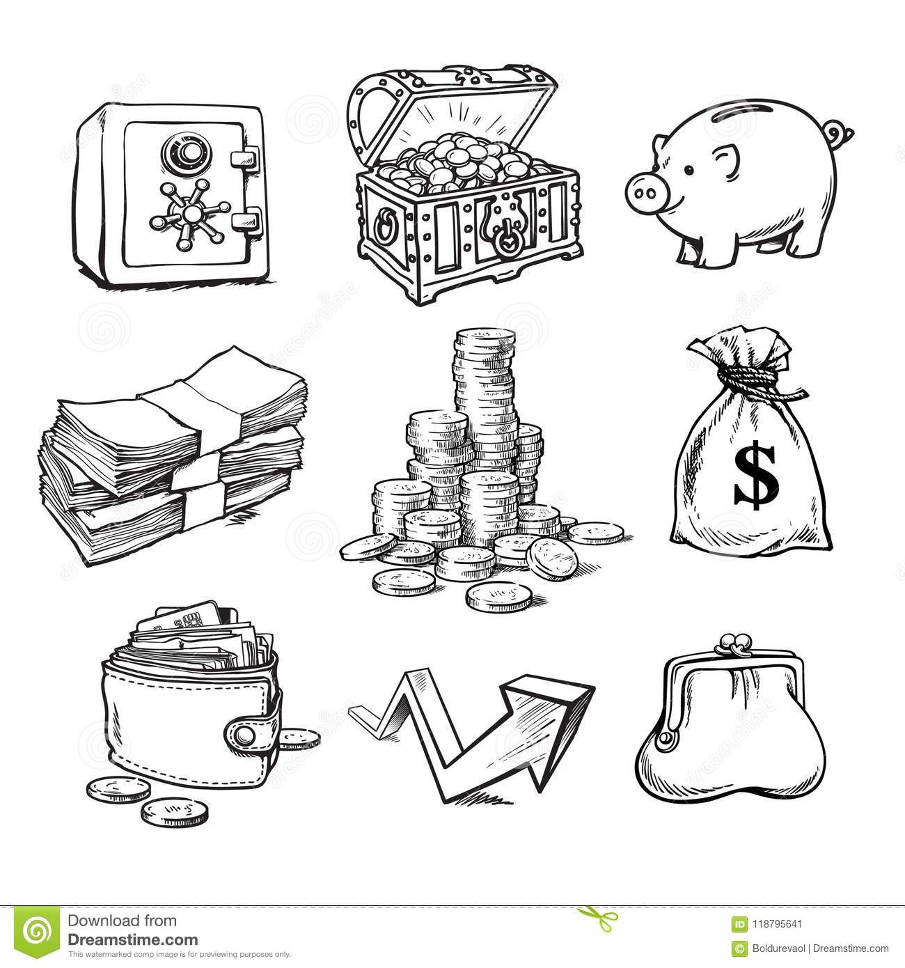 Black And White Business Money Set Stock Vector