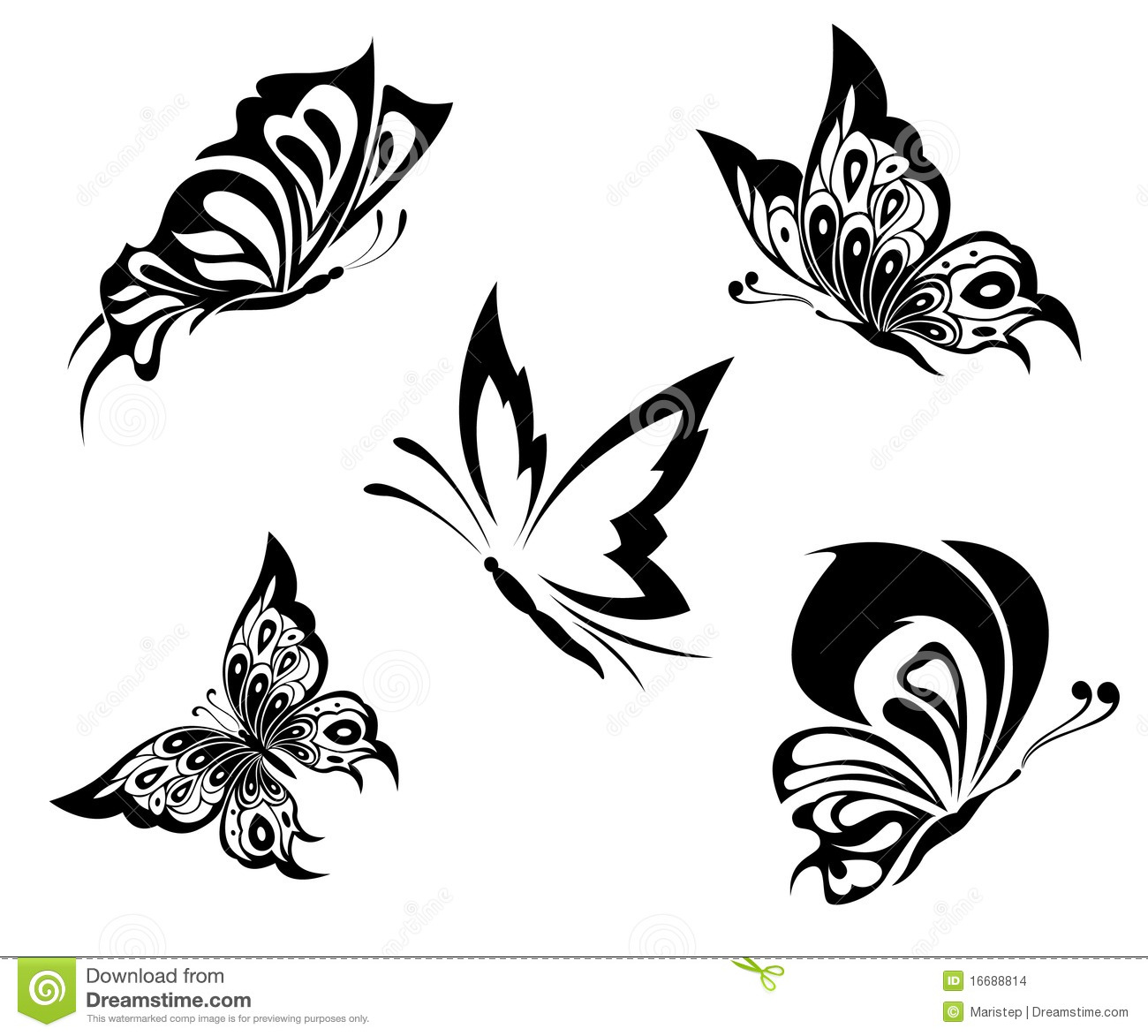 81fa7c628bd04 Black White Butterflies Of A Tattoo Stock Vector - Illustration of ...