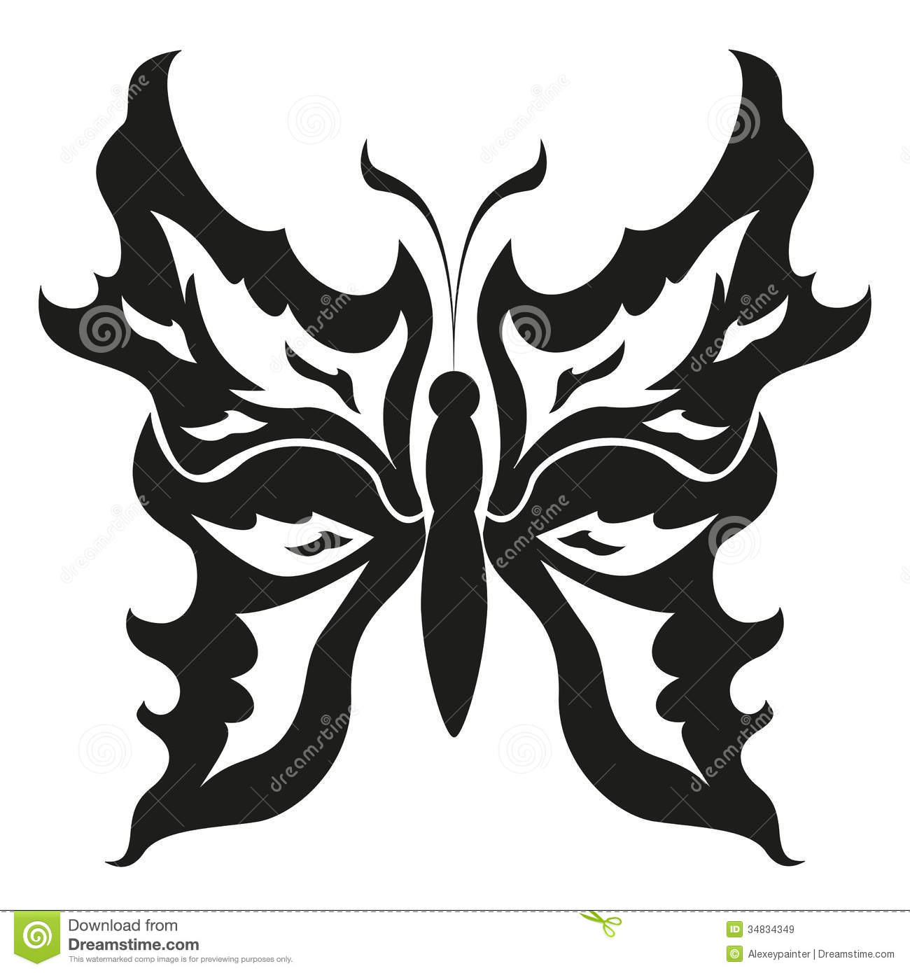 Black And White Butterflies.Tattoo Design. Vector Royalty
