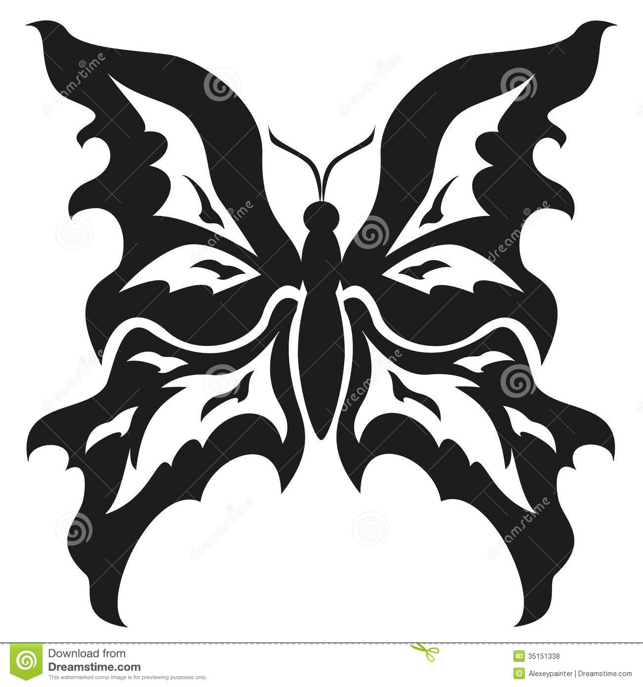 Black And White Butterflies.Tattoo Design. Vector Stock