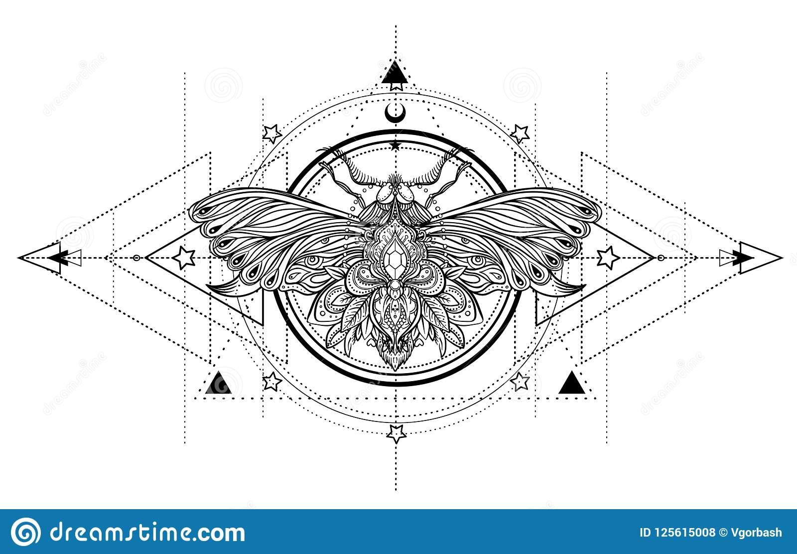 Black And White Butterfly Over Sacred Geometry Sign