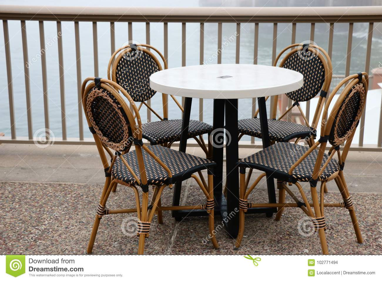 Strange Black And White Cafe Chairs And Table Stock Photo Image Inzonedesignstudio Interior Chair Design Inzonedesignstudiocom