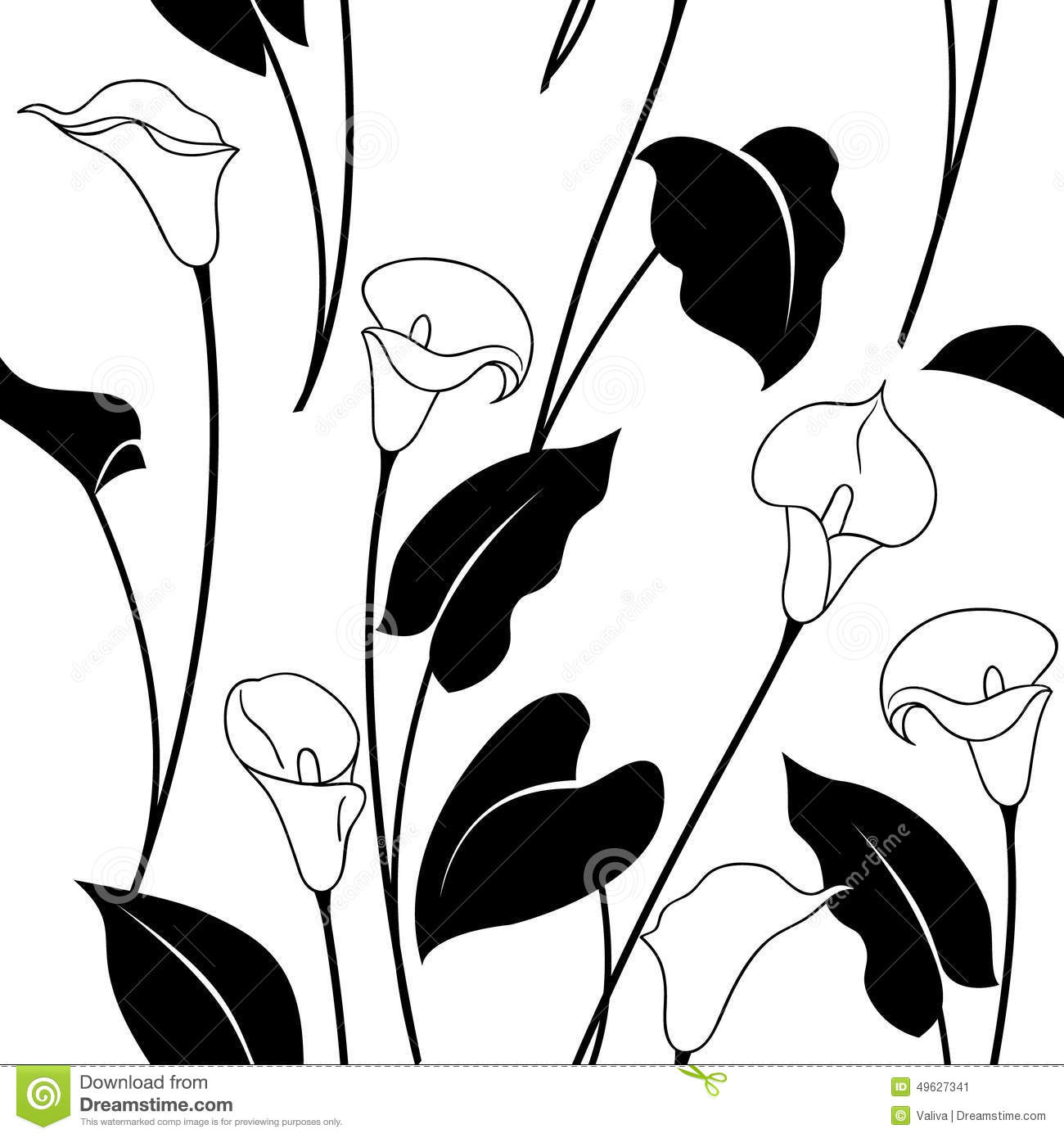 Black And White Calla Lily Pattern Stock Vector - Image: 49627341
