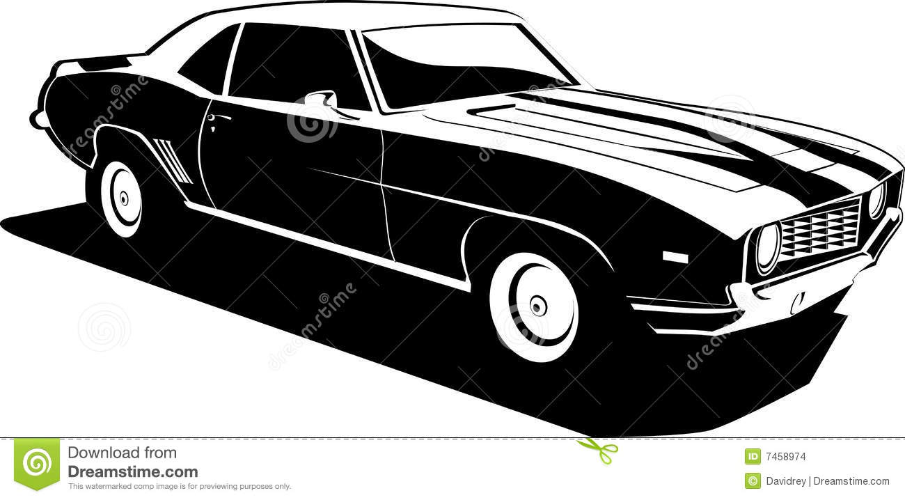 Black And White Camaro Stock Vector Illustration Of
