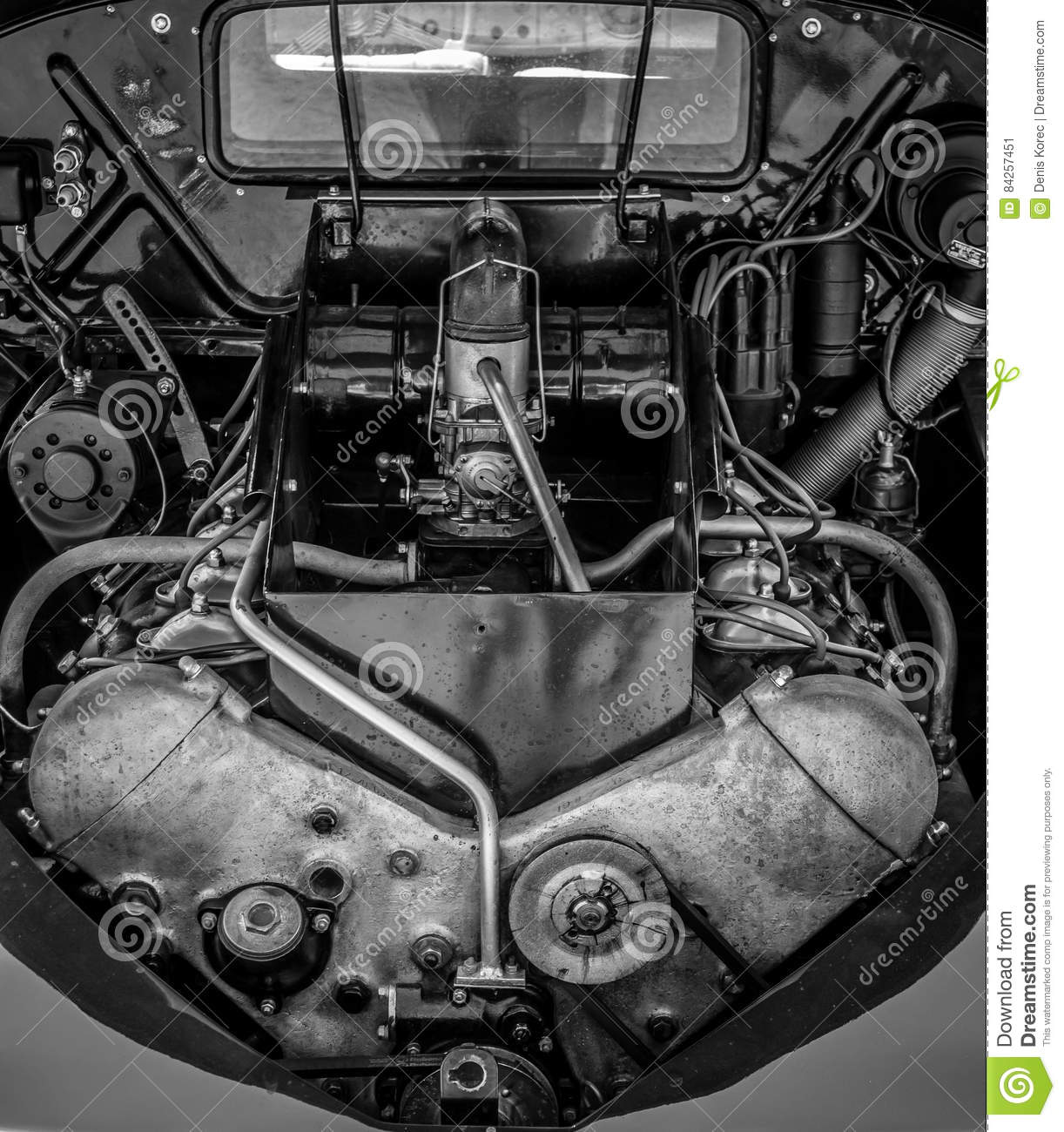 Black And White Car Engine, Old-timer. Stock Image