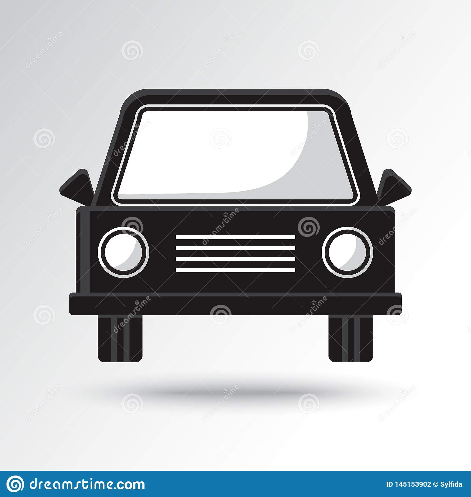 Black and white car icon. Vector illustration