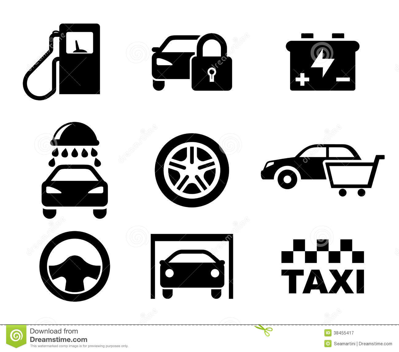 Black And White Car Service Icons Royalty Free Stock