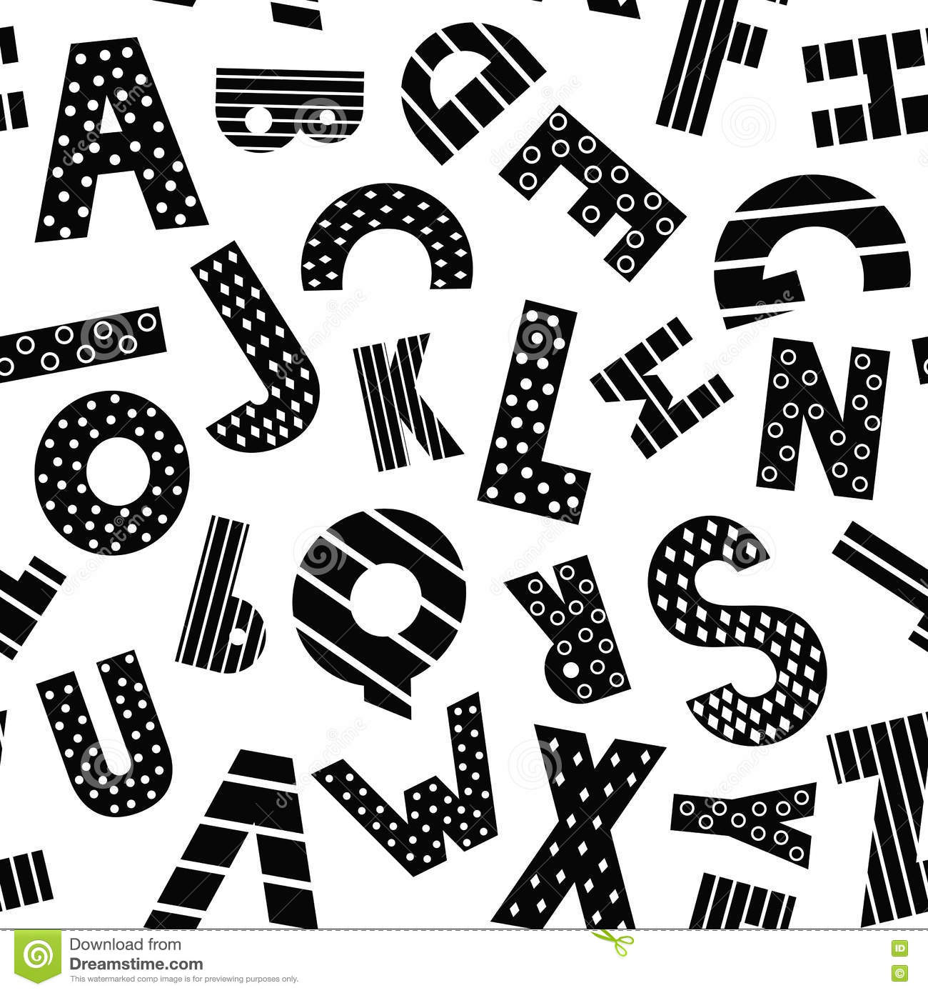 Book Cover Black And White Clipart ~ Black and white cartoon alphabet seamless pattern stock vector